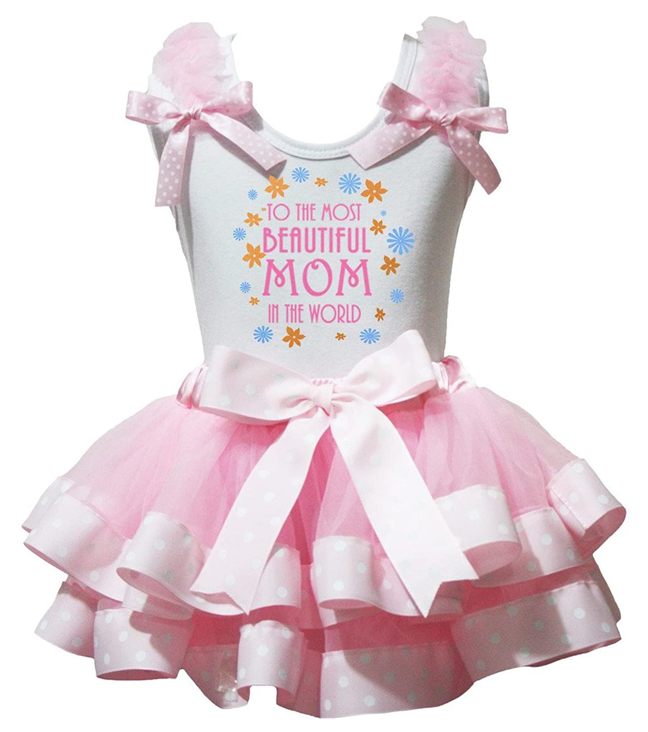 Petitebella To the Most Beautiful Mom White Shirt Dots Pink Petal Skirt Nb-8y