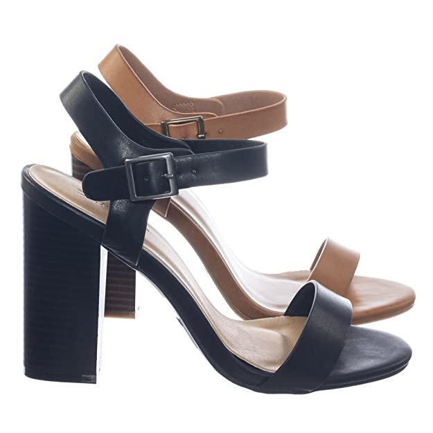 Bamboo Retro High Stacked Block Heel Open Toe Dress Sandal W Ankle Strap by Bamboo