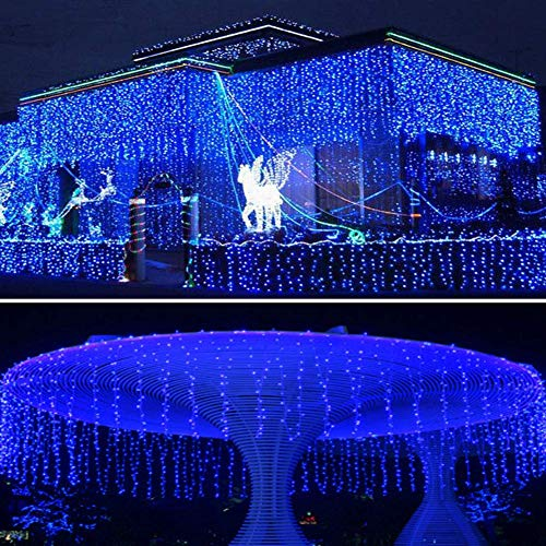 DBFairy Solar Curtain Fairy Lights Outdoor,13ft(L) x 3.3ft(H),8 Mode,200 LED,Solar String Lights for Home Garden Patio Camping Party Window Balcony Decoration - Waterproof,Dark Green-Blue