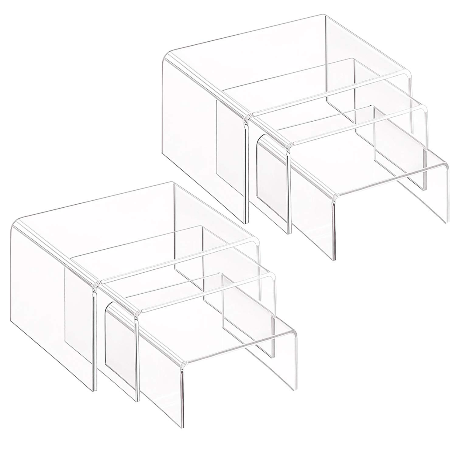 Clear Acrylic Display Risers, 2 Sets of 3 Showcase Shelf for Figures, Buffets, Cupcakes and Jewelry Display Stands, with Sticky Protective Film