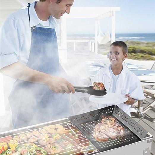 Planchas para Barbacoas Portátiles XGUO Parrilla Plancha Antiadherente Grill Plancha de Hierro con Pincel de Barbacoa y Clip para BBQ Picnic Acampadas ...