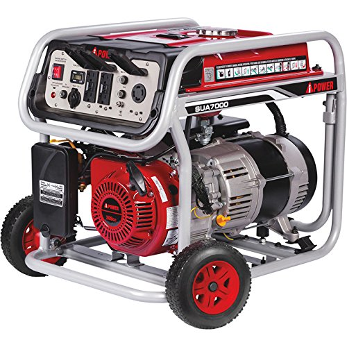 A-iPower SUA7000 7000-Watt Portable Generator Gas Powered Electric Start EPA CARB, 7000 Rated Watt/6000 Running Watt Red