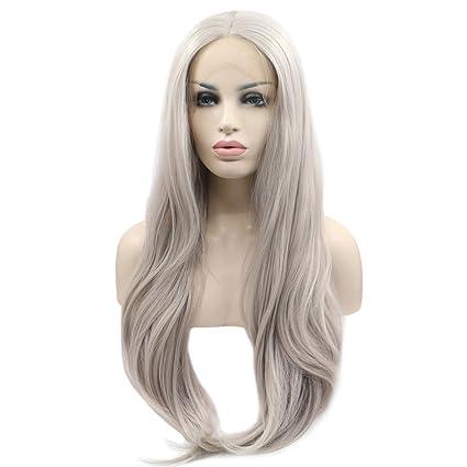 Fantasy Beauty Peluca de encaje frontal de platino de color plateado con pelo sintético ondulado natural