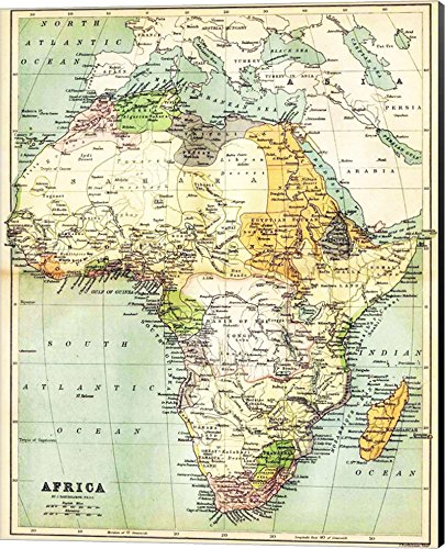 1885 Map (Map of Africa 1885 Canvas Art Wall Picture, Museum Wrapped with Black Sides, 16 x 20 inches)