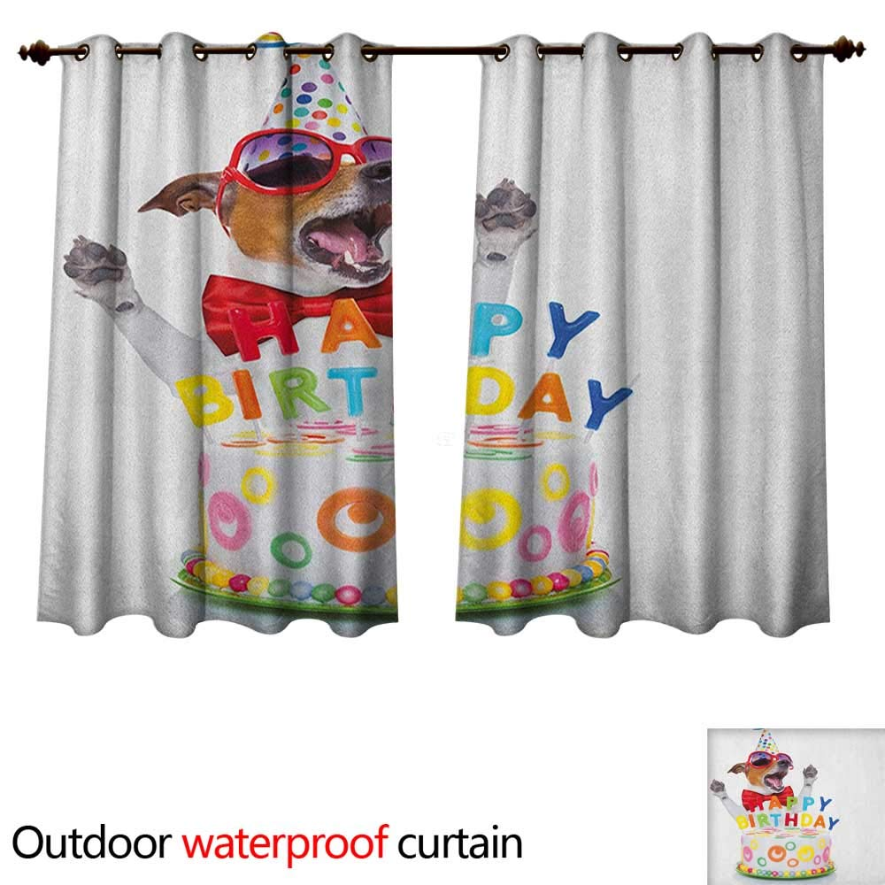 Anshesix Kids Birthday Outdoor Ultraviolet Protective Curtains Party Dog at Suprise Birthday Party with Cone Hat and Glasses Photograph Fun W72 x L72(183cm x 183cm)