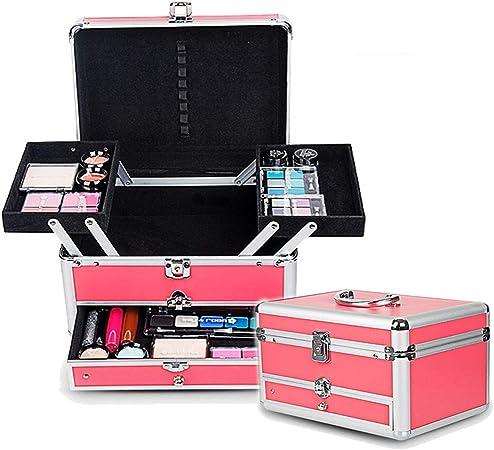 Yishelle Caja de Maquillaje portátil Caja de Aluminio Caja de la peluquería Espacio Extra Grande Caja de la Belleza Cosméticos Caja de la vanidad Rosa (Color : Rosado): Amazon.es: Hogar