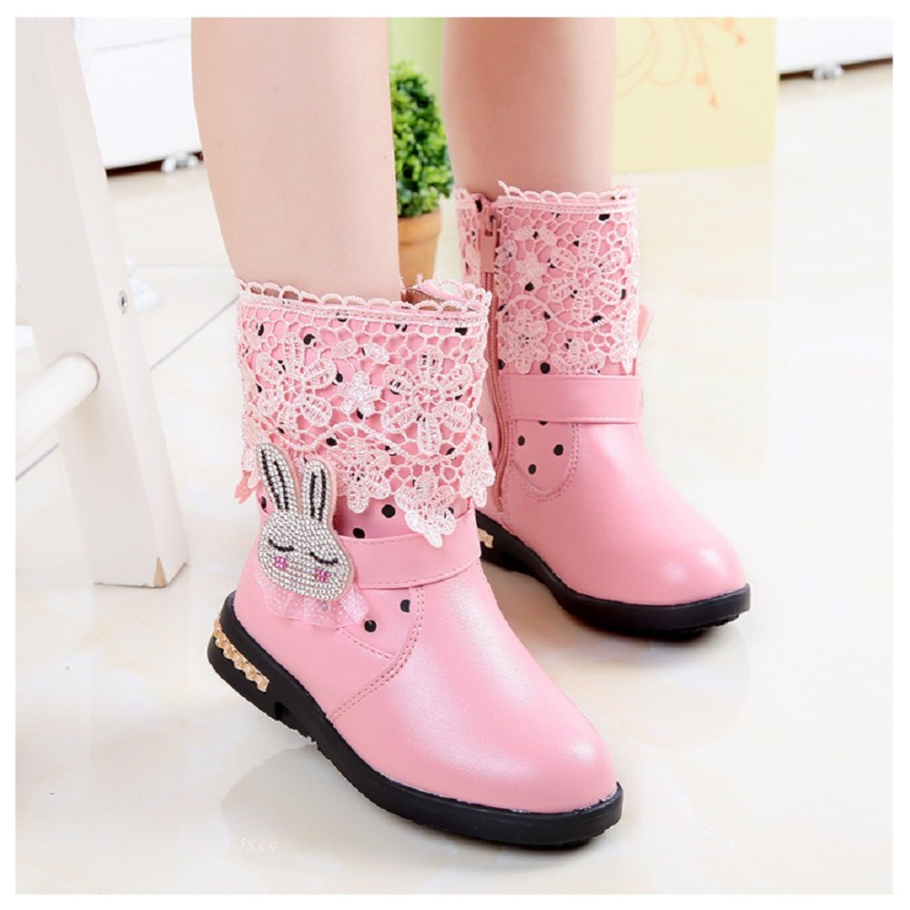 Hanxue Little Girls Cute Lace Cartoon Rabbit Fur Liner Boots (Toddler/Little Kid) Pink 13.5 M US Little Kid