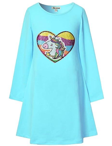 a55ae389 Baby Girl Unicorn Shirt Sequin Dress Reversible Rainbow Teen 3T 4T Cotton  Blue
