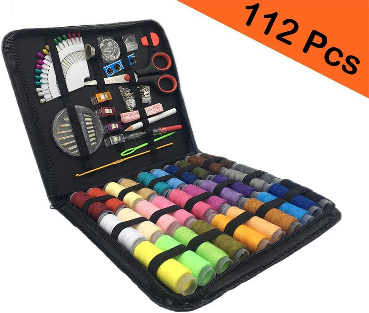 Spalexe Kit de costura, kit de costura completo con estuche de transporte, juego de costura de 112 piezas Accesorios para viajes de hogar familiar, uso de emergencia