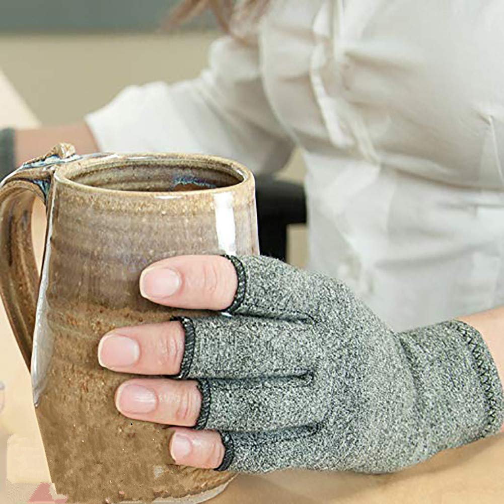 Arthritis Compression Gloves Relieve Pain from Rheumatoid, Carpal Tunnel, Hand Gloves Fingerless for Computer Typing and Dailywork(2 Pairs),S by SUN RDPP Arthritis Gloves (Image #4)
