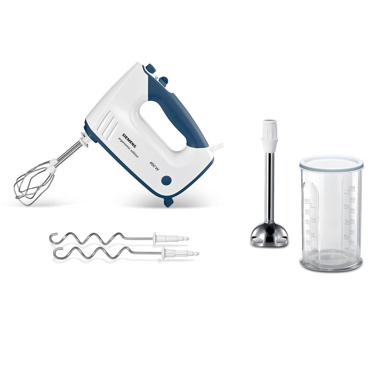 amazonde siemens mq96470 handrhrer ergonomic edition edelstahl mixfuss mixbecher 450 watt wei blau - Kcheninnovationen Perfekter Kuchenmixer