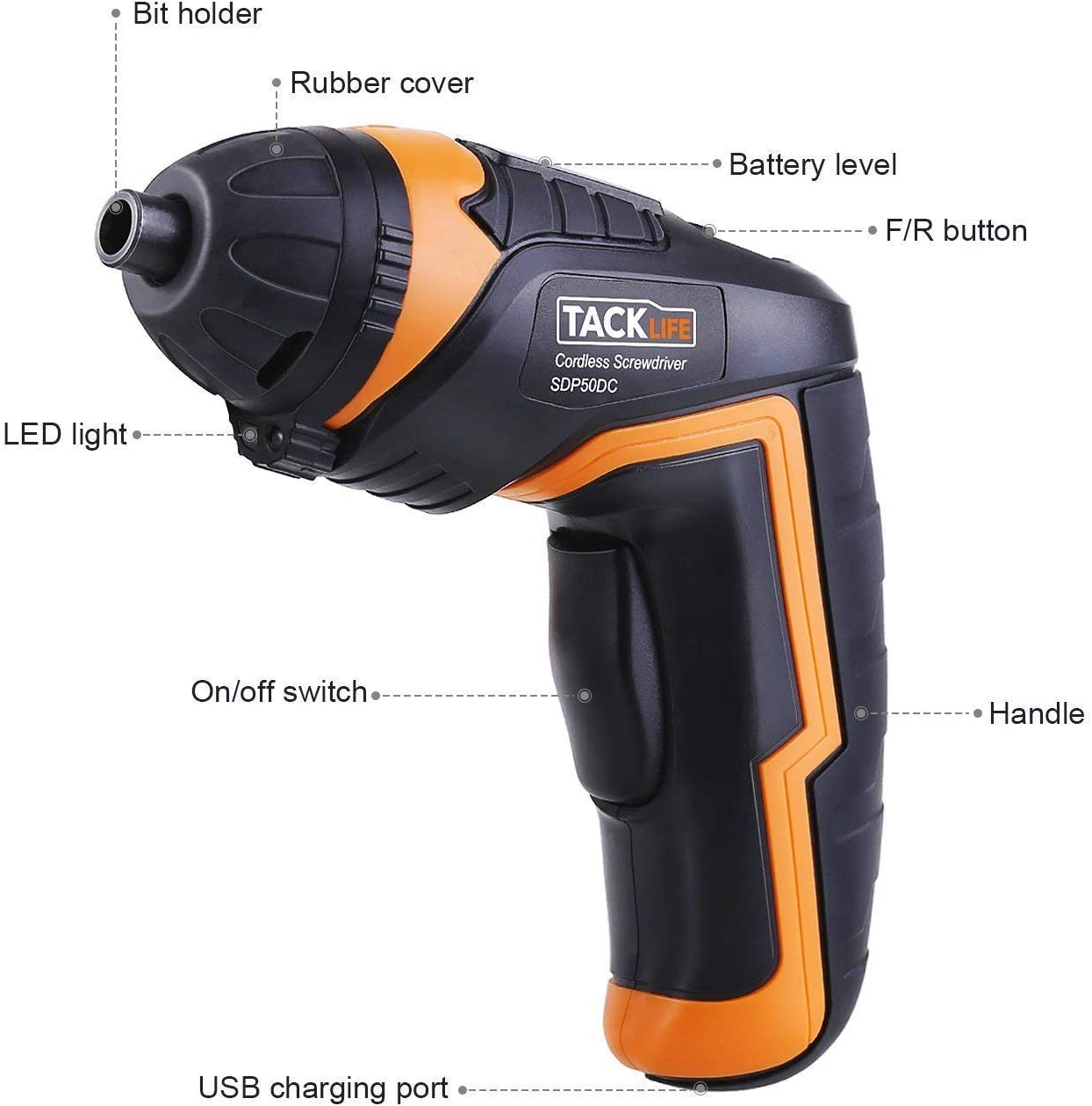 Cordless Screwdriver, TACKLIFE Electric Screwdriver, 4V MAX 2000mAh Li-ion with Battery Indicator, 31 Free Accessories, USB Rechargeable, Lightweight ...