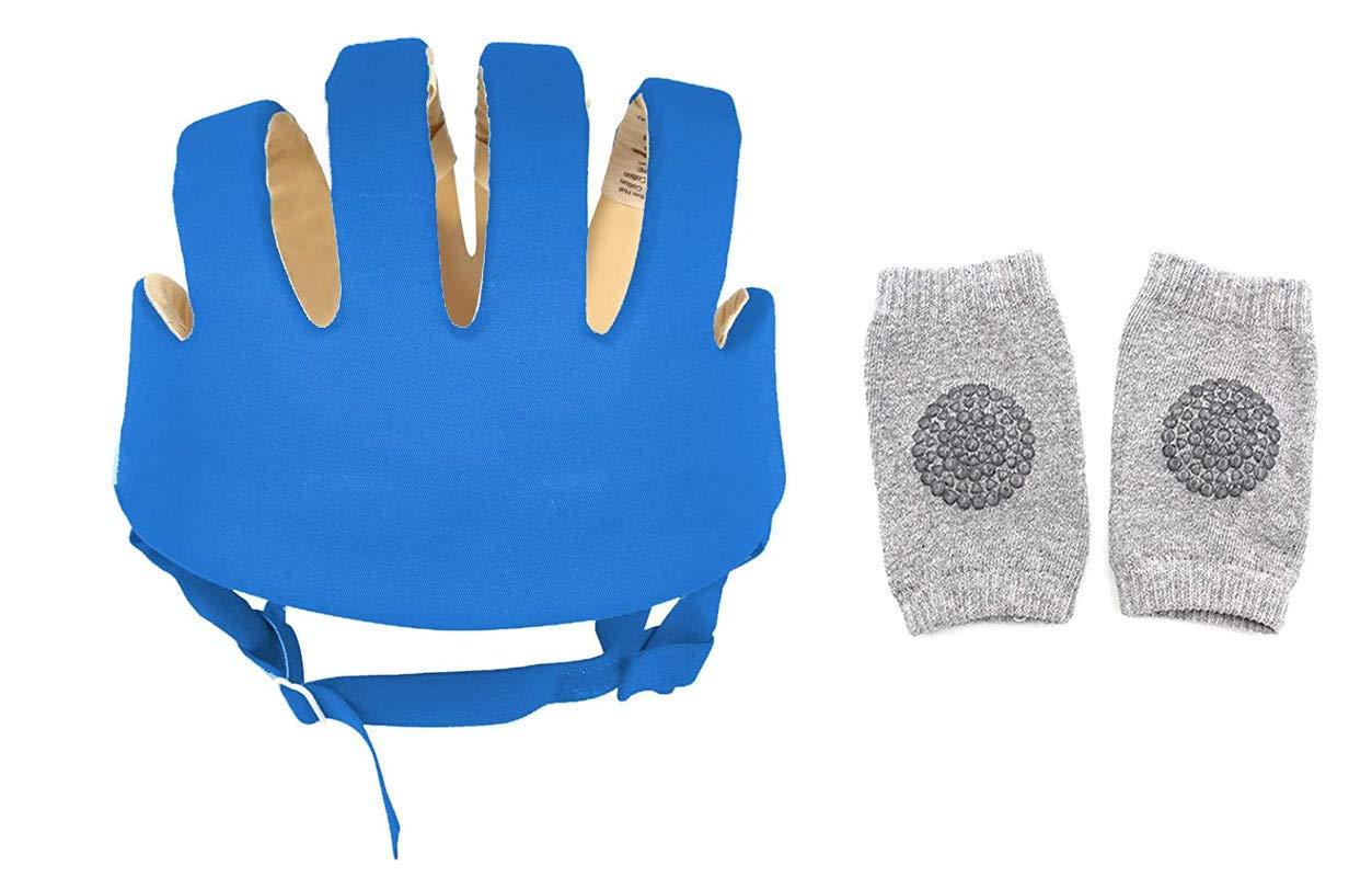 DearJoy Baby Safety Helmet with Corner Guard & Proper Ventilation + Kneepads (Blue)