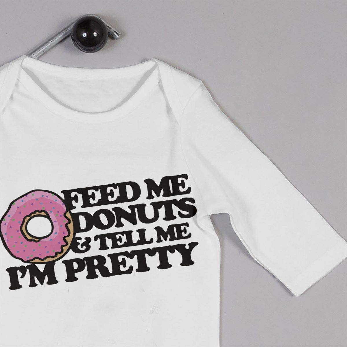 YELTY6F Feed Me Donuts and Tell Me Im Pretty Printed Newborn Baby One-Piece Suit Long Sleeve Rompers White