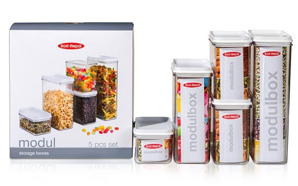 Rosti Mepal 104669030600 Modul Boîte de Rangement SAN Blanc 23,3 x 13,5 x 24,7 cm Set de 5 Pièces