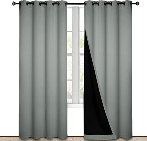 Grey Blackout Curtains 95 Inches Long 2 Panels Burg