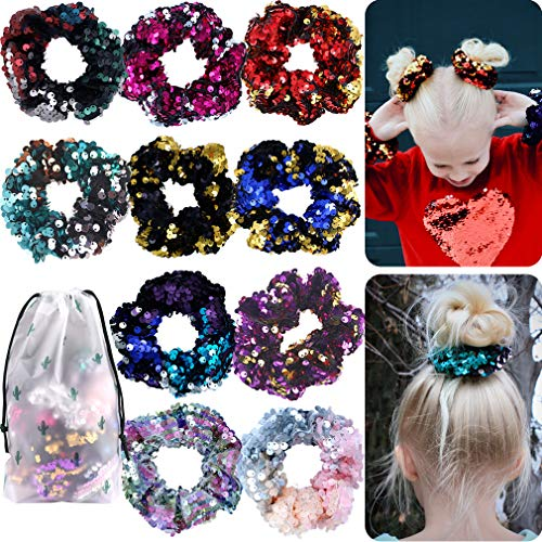 Sequin Hair Scrunchies Ties Elastics Shiny Glitter Hair Bands Ropes for Women or Girls Ponytail Holder Accessories Pack of 10