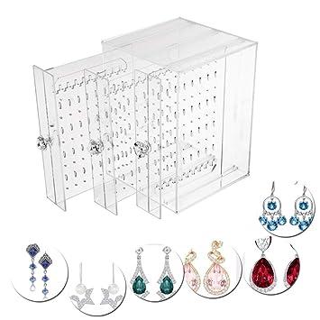 BUONDAC Boîte Rangement Porte Bijoux Transparent Support Organisateur Boucle  d Oreille Présentoir Bijou Collier Bracelet 3efd5ba97c7