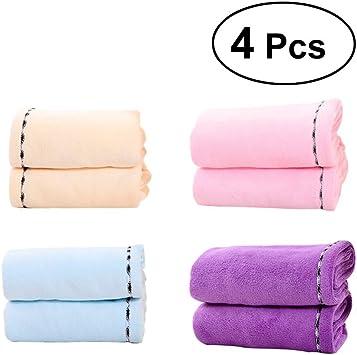 frcolor 4pcs pelo turbante toalla algodón pelo secado rápido toallas ...