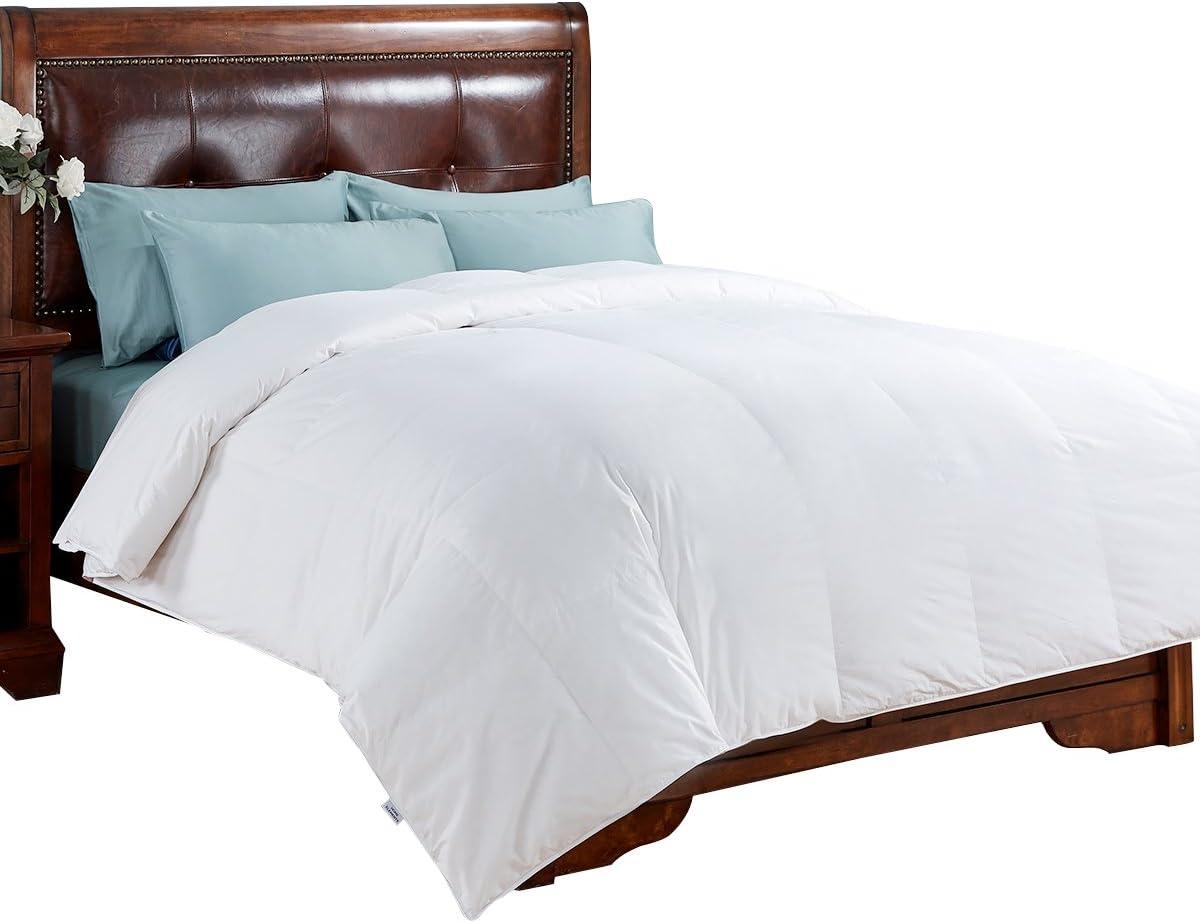 PEACE NEST All Season White Down Comforter Duvet Insert 100 Cotton Cover, King, White