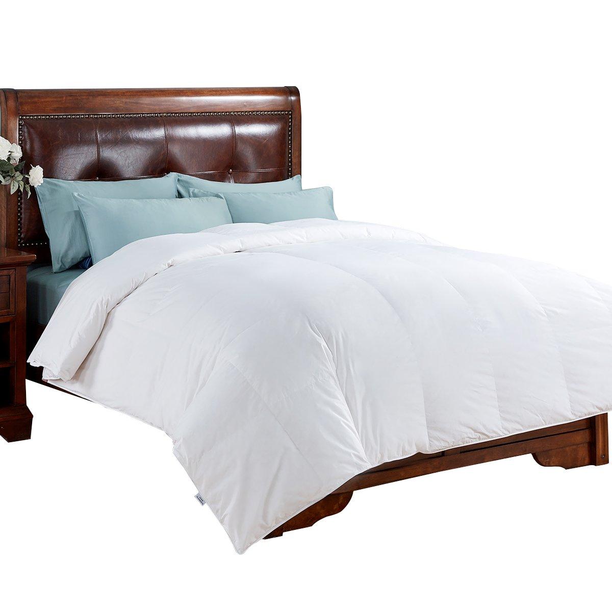 PEACE NEST All Season Comforter White Goose Down with 100% Cotton Cover Reversible Comforter Duvet White Full/Queen Size