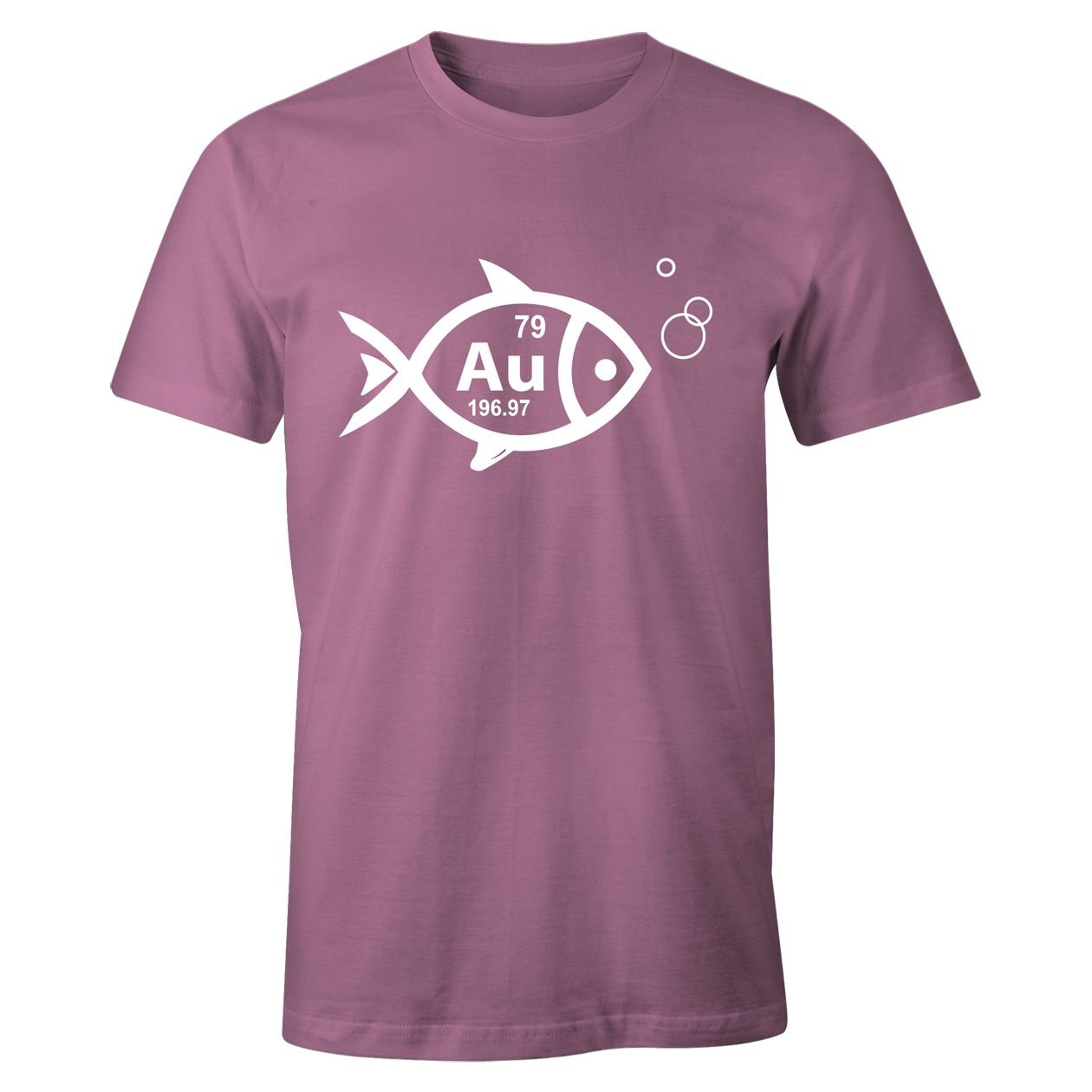 Goldfish AU Cool Retro Periodic Symbol Womens Top - T-Shirt, Light Pink, Print Color-White, 2X-Large