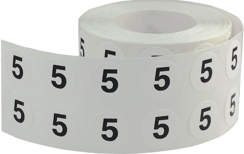13 mm 1//2 Pulgada Redonda Blanco Circulo con Negro Numero 9 Pegatinas 1000 Etiquetas en un Rollo