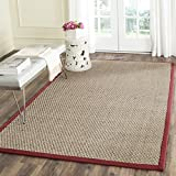 Safavieh Natural Fiber Collection NF114D Basketweave Natural and  Red Seagrass Area Rug (6' x 9')