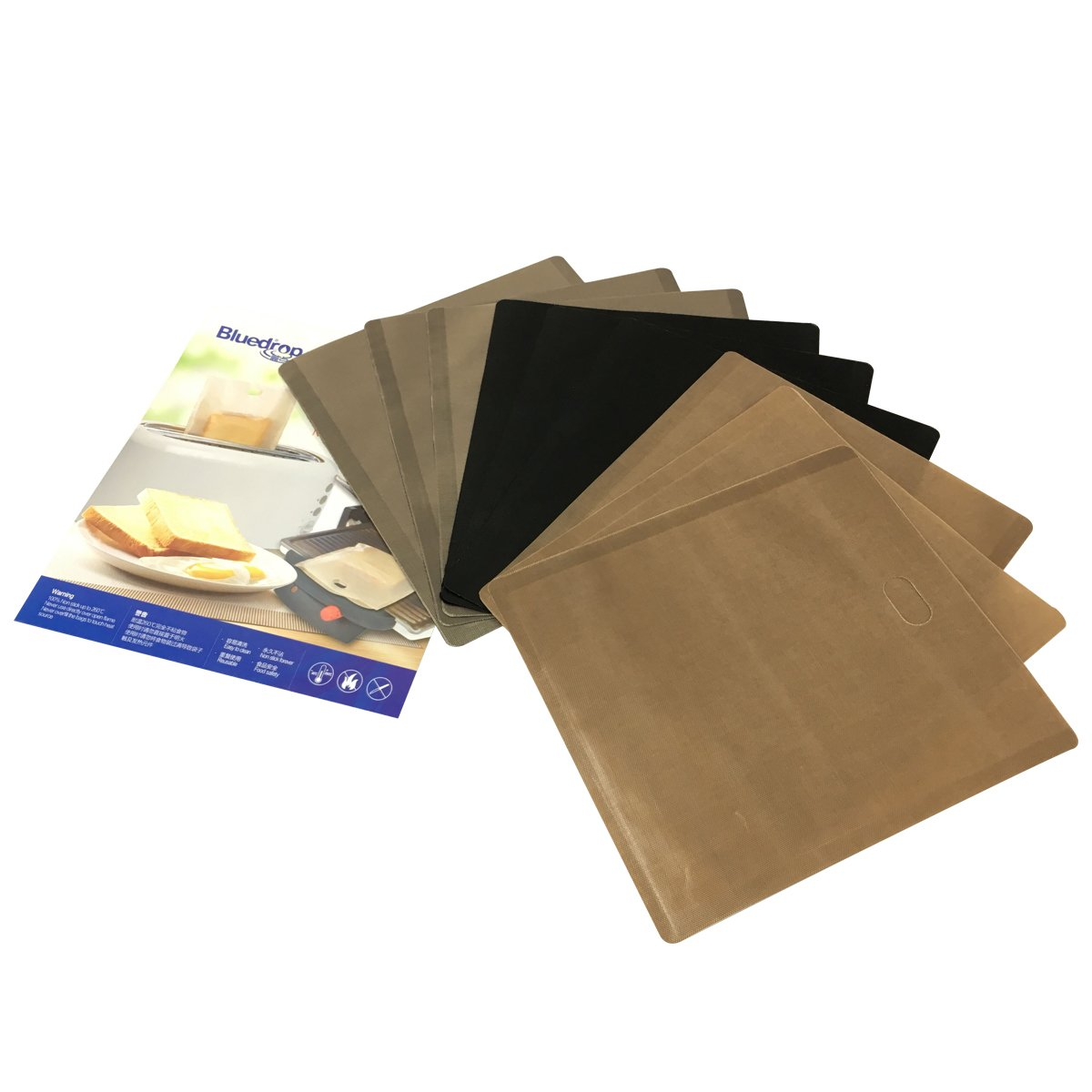 Bluedrop Toaster Bags Reusable Sandwich Bags For Grill Cheese Bread Slice Toast Baking Pockets 9-Pack 2 Colors
