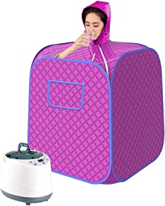 Kacsoo Portable Steam at Home Sauna Spa, Upgrade 2L Steamer, Lightweight Tent, One Person Full Body Spa for Weight Loss Detox Therapy (Purple)
