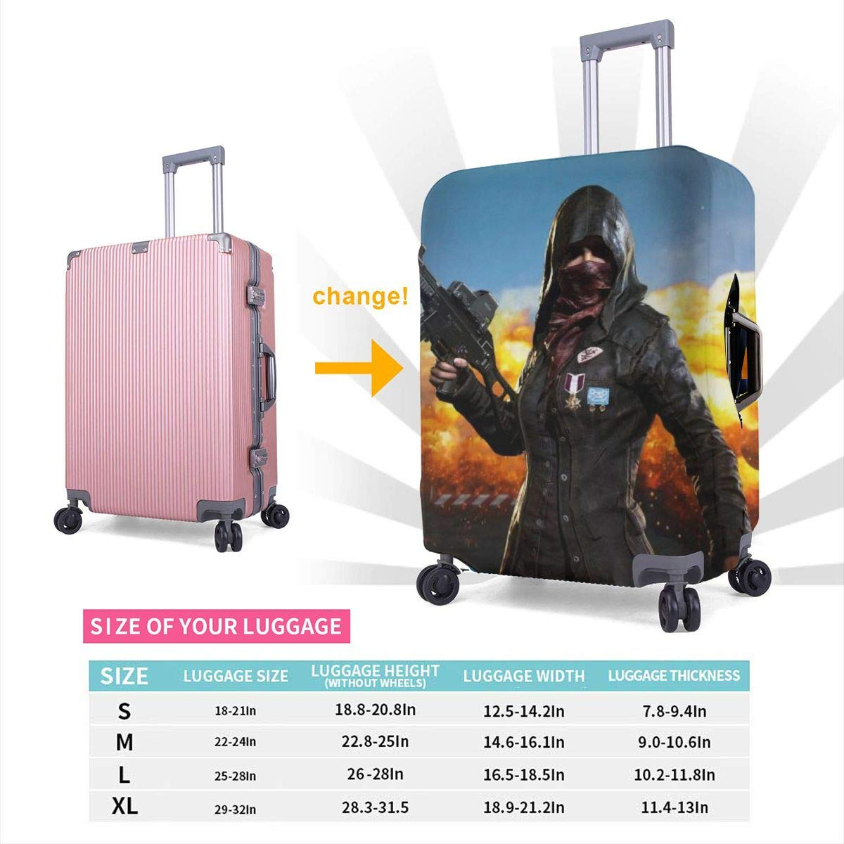 PUBG Suitcase Protector Travel Luggage Cover Fit