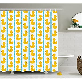 Rubber Duck Shower Curtain Set By Ambesonne, Yellow Duckies With Blue  Stripes And Small Circles Baby Nursery Play Toys Pattern, Fabric Bathroom  Set With ...