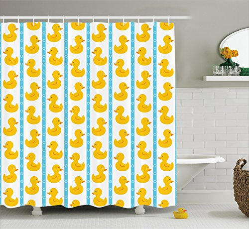 Ambesonne Rubber Duck Shower Curtain Set, Yellow Duckies with Blue Stripes and Small Circles Baby Nursery Play Toys Pattern, Fabric Bathroom Set with Hooks, 69W X 70L Inches, Yellow and Blue