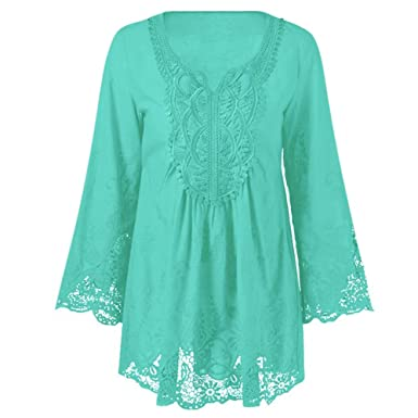 Charmma Womens Plus Size Long Sleeve Lace Patchwork Mexican Peasant