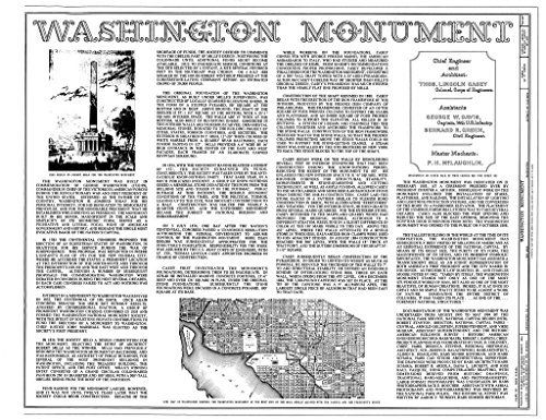 Blueprint Diagram Cover sheer - Washington Monument, High ground West of Fifteenth Street, Northwest, between Independence & Constitution Avenues, Washington, District of Columbia, DC 24in x ()