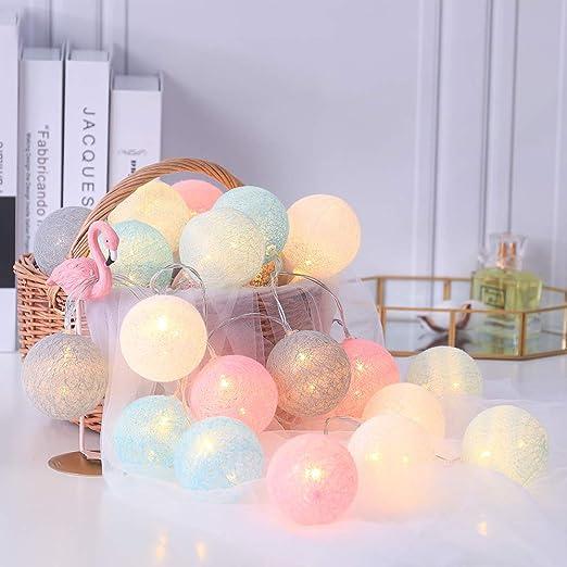Cadena luminosa LED con 20 bolas de algodón con ganchos 3M guirnalda hada de luces a batería para balcón, fiesta, boda, vacaciones, decoración interior: Amazon.es: Iluminación