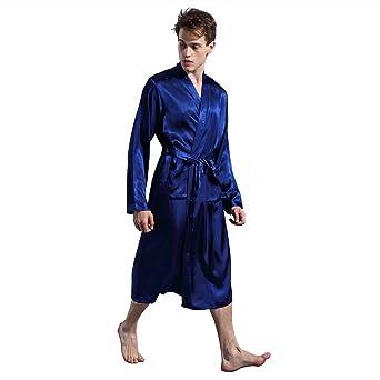 JZLPIN Hombres Satín Kimono Robe Largo Bata de Baño Bata Seda Ropa de Dormir Bata de Casa Nightwear: Amazon.es: Ropa y accesorios