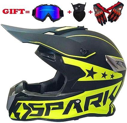 LQ-Helmet Casque de Motocross Adulte Casque de Moto MX Casque de Scooter ATV D.O.T Certifi/é Gants Gants Masque