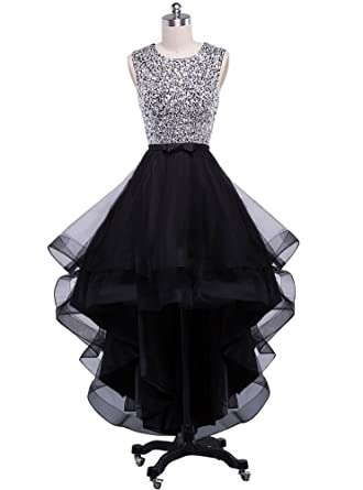 e945f50f6a5 Beauty-Emily Wedding Dresses Women s Black Elegant Beaded Tulle Fashion A  line Prom Party Dress