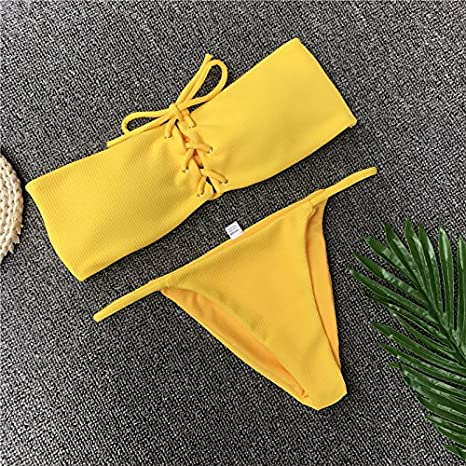 d780a9b523c Image Unavailable. Image not available for. Color: VT BigHome Ariel Sarah  Brand Sexy Swimwear Solid Bikini Women Swimsuit V Neck ...