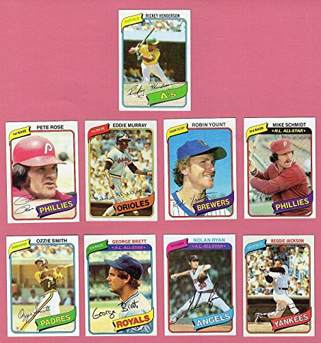 - 1980 Topps Baseball Complete set 726 Cards Exmt Condition with Rickey Henderson Rookie