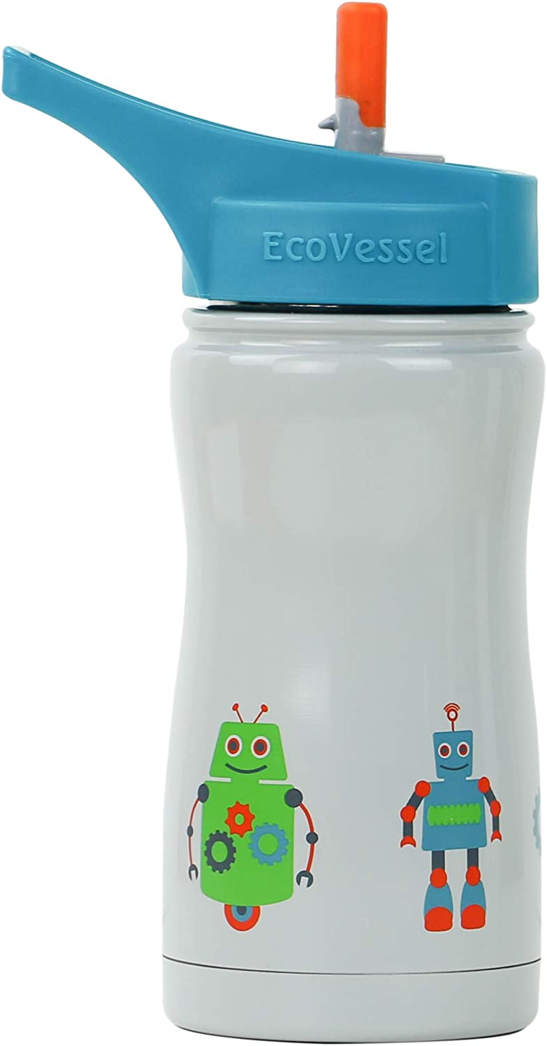 EcoVessel Frost Kid's TriMax Triple Insulated Stainless Steel Water Bottle with Flip Straw Top - 13 Ounces