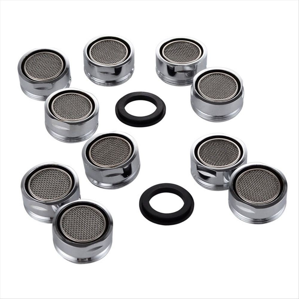 7Trees Polished Chrome Faucet Replacement Part 24mm Male Threaded Brass Aerator with Gasket Bubbler Filter Accessories (Pack of 10)