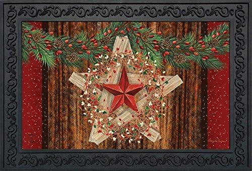 Holiday Barnstar Berries Doormat Primitive Christmas Indoor Outdoor 18 x 30