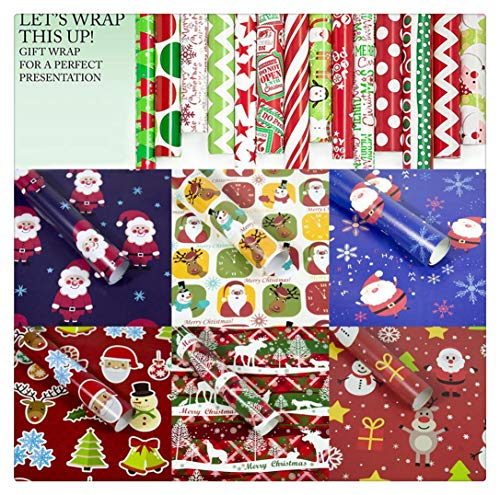 FRCOLT Christmas Wrapping Papers Gift Present Tree Holiday Santa, Merry Christmas, Snowman Christmas Gift Wrap/Wrapping Paper Cutter Cutting Tools (19.69in x 11.81in, A (3 Pieces))