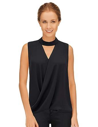 b676ba5cbb879a Blooming Jelly Womens Tops Choker Elegant Wrap Halo V Neck Chiffon  Sleeveless T Shirt Blouse Black