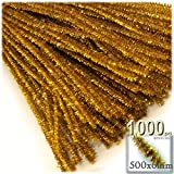 The Crafts Outlet Chenille Sparkly Stems, Pipe Cleaner, 20-in (50-cm), 1000-pc, Gold