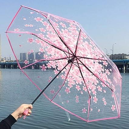 SYT Umbrellas Tres Mujeres del Paraguas del Paraguas Transparentes Cereza Clara Sakura Plegables sombrilla Lluvia del