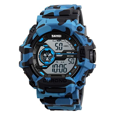 Amazon.com: SKMEI 1233 Mens Classic Digital Sports Watch LED and Backlight 50M Waterproof Multifunctional (Camouflage blue): Beauty