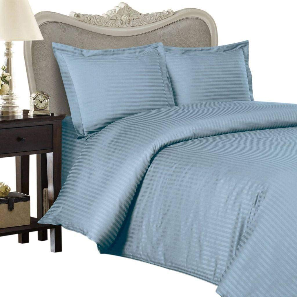 Egyptian Bedding 600-Thread-Count Egyptian Cotton 4pc 600TC Bed Sheet Set, California King, Blue Damask Stripe 600 TC